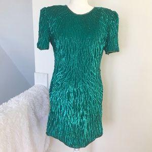 Lawrence Kazar Vintage Silk Sequins Dress